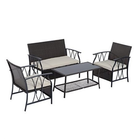 Outsunny-4-Piece-Outdoor-Rattan-Wicker-Furniture-Set-0-450x450 Wicker Patio Dining Sets