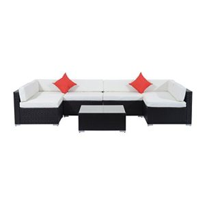 Outsunny 7 Piece Outdoor Patio PE Rattan Wicker Sofa Sectional Furniture Set 0 0 300x300