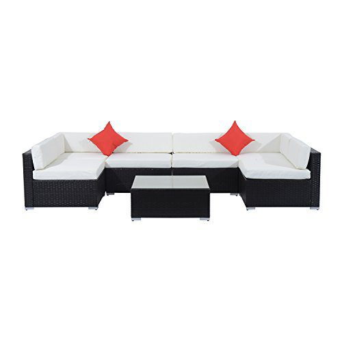 Outsunny 7 Piece Outdoor Patio PE Rattan Wicker Sofa Sectional Furniture Set 0 0