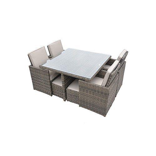 Radeway 9 PCS11 PCS Patio Furniture Dining Set Garden Outdoor Patio Furniture Sets Wicker Out Door Patio Cube Sets W Chocolate Mix Rattan Sand Cushions 0 1