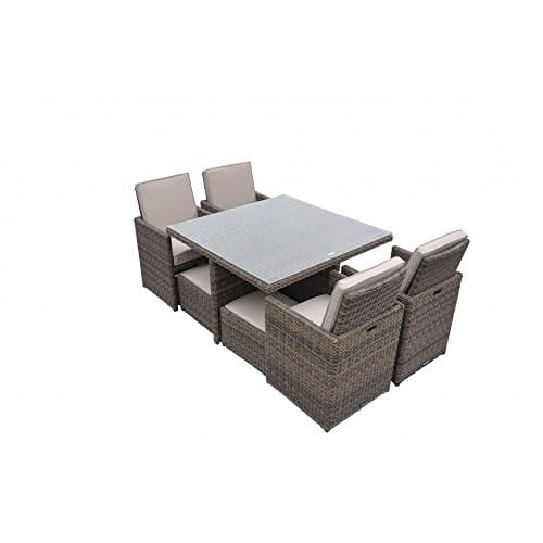 Radeway 9 PCS11 PCS Patio Furniture Dining Set Garden Outdoor Patio Furniture Sets Wicker Out Door Patio Cube Sets W Chocolate Mix Rattan Sand Cushions 0 5