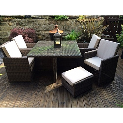 Radeway 9 PCS11 PCS Patio Furniture Dining Set Garden Outdoor Patio Furniture Sets Wicker Out Door Patio Cube Sets W Chocolate Mix Rattan Sand Cushions 0