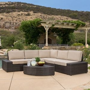 Reddington Outdoor Wicker Sectional Seating Sofa Set With Cushions 0 300x300