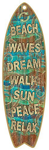 SJT41303-Beach-Signs-5-x-16-Surfboard-Wood-Plaque-Sign-0 The Best Wooden Beach Signs You Can Buy