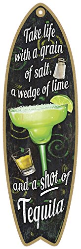 SJT41305 Margarita Take Life With A Grain Of Salt A Wedge Of Lime And A Shot Of Tequila 5 X 16 Surfboard Wood Plaque Sign 0