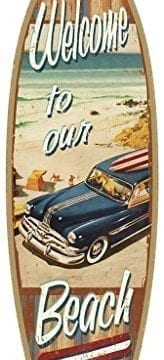 SJT41335-Welcome-to-our-Beach-with-woodie-5-x-16-Surfboard-Wood-Plaque-Sign-0-164x360 Wooden Beach Signs & Coastal Wood Signs