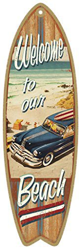 SJT41335-Welcome-to-our-Beach-with-woodie-5-x-16-Surfboard-Wood-Plaque-Sign-0 The Best Wooden Beach Signs You Can Buy