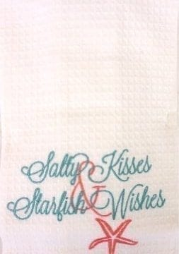 Salty-Kisses-Starfish-Wishes-Bar-or-Dishtowel-Tropical-Colors-Waffle-Weave-18-X-27-0-253x360 50+ Beach Hand Towels and Nautical Hand Towels For 2020
