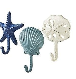 Sea Treasures Wall Hooks Set Of 3 Antique Weathered Hangers For Coats Aprons Hats Towels Pot Holders Scallop Sand Dollar Sea Star Starfish 0 300x313