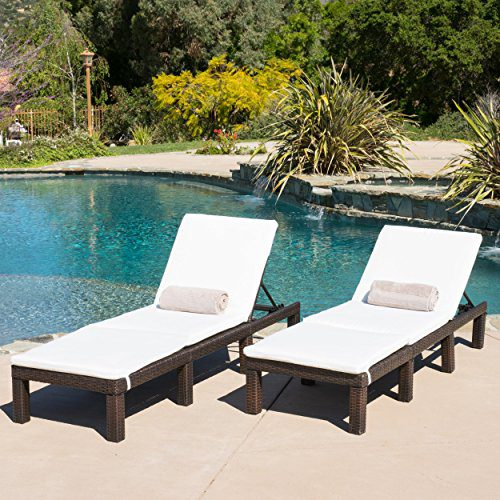Set Of 2 Estrella Outdoor PE Wicker Adjustable Chaise Lounge Chairs W Cushions 0