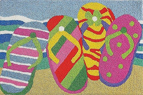 Summer-Flip-Flops-in-the-Sand-Washable-21-X-33-Area-Accent-Jellybean-Rug-0 Beach Rugs and Beach Area Rugs