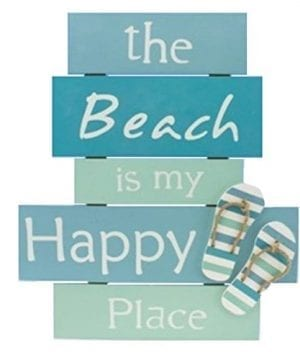 The Beach Is My Happy Place Plaque With Raised Flip Flop Accent 0 300x360