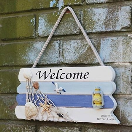 Welcome-Creative-home-Decorative-Hanging-Ornaments-Wood-Sign-Boat-Beach-Handcrafted-Nautical-Decor-0-450x450 The Best Wooden Beach Signs You Can Buy