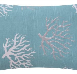 Wonders Of The Seas Turquoise Collection Couch Bed Toss Pillow Ocean Sea Coral And Star Fish Turquoise Blue White And Gray Grey Hues 1 Pillow 2 Looks 0 0 300x289