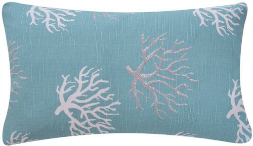 Wonders Of The Seas Turquoise Collection Couch Bed Toss Pillow Ocean Sea Coral And Star Fish Turquoise Blue White And Gray Grey Hues 1 Pillow 2 Looks 0 0