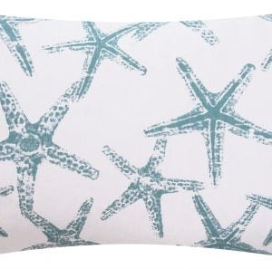 Wonders Of The Seas Turquoise Collection Couch Bed Toss Pillow Ocean Sea Coral And Star Fish Turquoise Blue White And Gray Grey Hues 1 Pillow 2 Looks 0 1 300x297