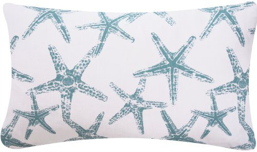 Wonders Of The Seas Turquoise Collection Couch Bed Toss Pillow Ocean Sea Coral And Star Fish Turquoise Blue White And Gray Grey Hues 1 Pillow 2 Looks 0 1