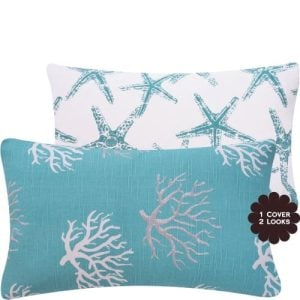 Wonders Of The Seas Turquoise Collection Couch Bed Toss Pillow Ocean Sea Coral And Star Fish Turquoise Blue White And Gray Grey Hues 1 Pillow 2 Looks 0 300x300