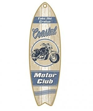 coastal motor club wooden sign