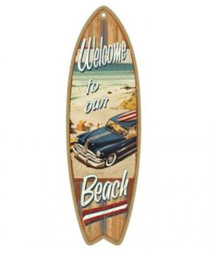 welcome to our beach surfboard wooden sign