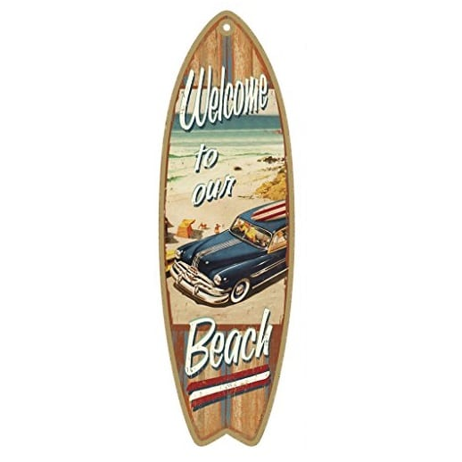 Welcome To Our Beach Surfboard Wood Plaque Sign
