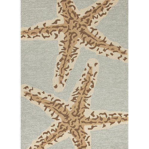 5 X 75 Ash Gray And Sandstone Tan Grant Sea Star Outdoor Area Throw Rug 0