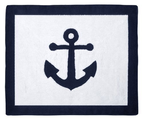 Anchors Away Nautical Navy And White Accent Floor Rug 0