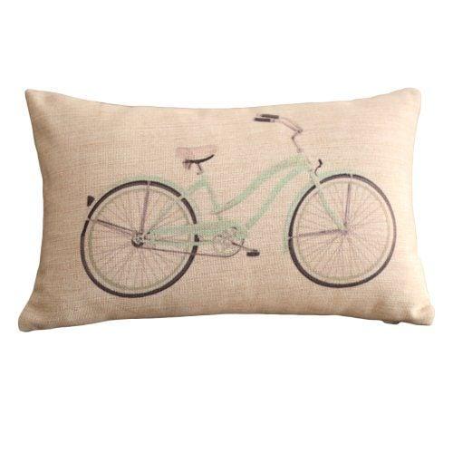 Clear Bicycle Print Rectangular Throw Pillow Covers 30CMx45CM Lumbar Cushions Linen Decorative Pillow Covers 0