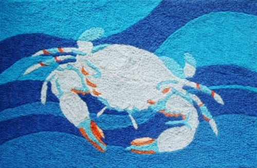 Coastal-Blue-Crab-Swimming-in-Ocean-Waves-Accent-Area-Rug-21-x-33-Inch-Jellybean-0 Beach Rugs and Beach Area Rugs