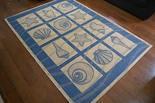 Coastal-Seashell-IndoorOutdoor-Blue-Ivory-Area-Rug-53-W-X-76-L-0 Beach Rugs and Beach Area Rugs