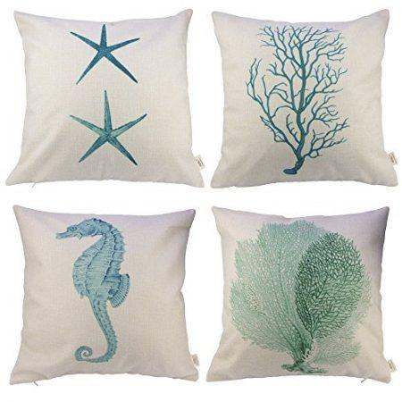 HOSL-P46-18-Inch-4-Peice-Ocean-Park-Theme-Throw-Pillow-Case-0-450x450 Nautical Pillows and Nautical Throw Pillows