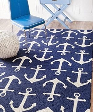 Handmade Novelty Trellis Nautical Anchors Area Rugs 0 0 300x360