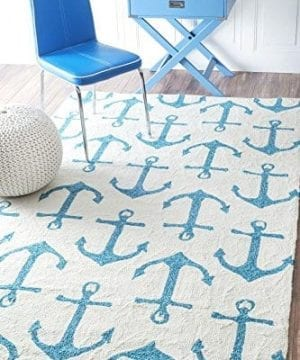 Handmade Novelty Trellis Nautical Anchors Area Rugs 0 300x360
