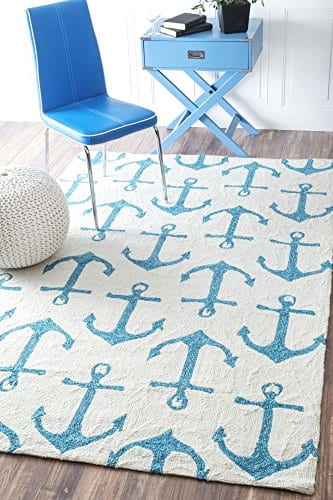 Handmade-Novelty-Trellis-Nautical-Anchors-Area-Rugs-0 Beach Rugs and Beach Area Rugs