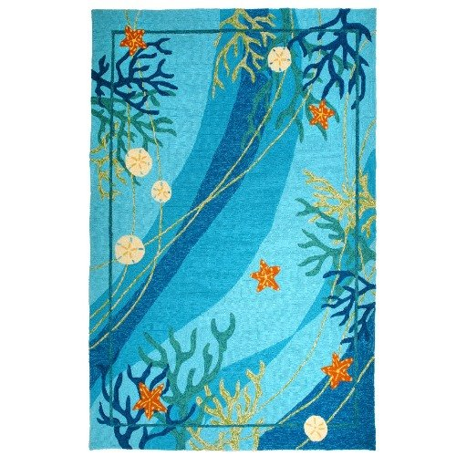 Homefires Underwater Coral And Starfish 22 Inch By 34 Inch Indoor Outdoor Hand Hooked Area Rug 0