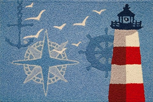 Jellybean-Ocean-Outpost-Red-White-Lighthouse-Compass-Anchor-Accent-Rug-0 Beach Rugs and Beach Area Rugs