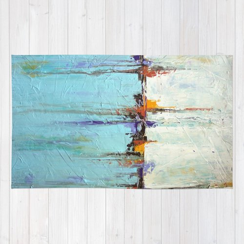 Nautical Area Rug White And Blue Home Decor Abstract Seascape 0