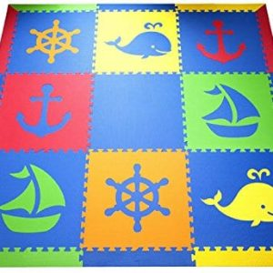 SoftTiles Nautical Ocean Theme Premium Interlocking Foam Large Childrens Playmat 78 X 78 0 300x300