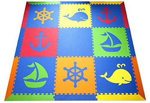 SoftTiles-Nautical-Ocean-Theme-Premium-Interlocking-Foam-Large-Childrens-Playmat-78-x-78-0 Beach Rugs and Beach Area Rugs