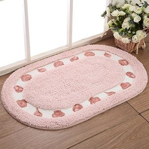 Stay Young Decorative Floral Rural Style Beautiful Seashell Pattern Shaggy Area Rug Soft Non Slip Absorbent Doormat Floor Mat Bath Mat Bedroom Carpet 4060cm Oval 0 1 300x300