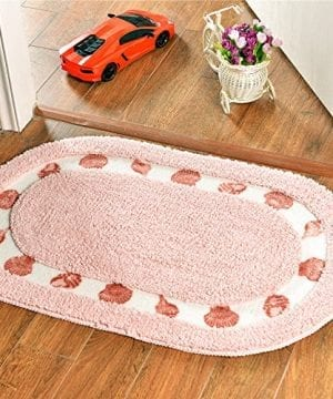 Stay Young Decorative Floral Rural Style Beautiful Seashell Pattern Shaggy Area Rug Soft Non Slip Absorbent Doormat Floor Mat Bath Mat Bedroom Carpet 4060cm Oval 0 300x360