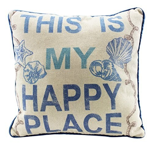 This Is My Happy Place 12 Inch Natural Decorative Beach Throw Pillow 0