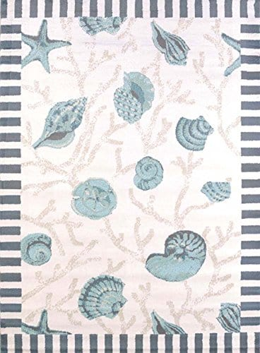 United-Weavers-Area-Rugs-Regional-Concepts-Rugs-541-50660-Shells-Blue-0 Beach Rugs and Beach Area Rugs