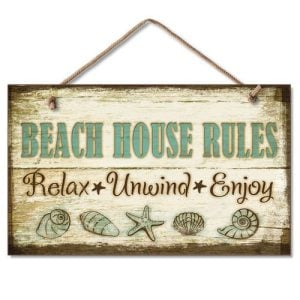 1 X Beach House Rules Relax Unwind Enjoy Tropical Weathered Coastal Sign 0 300x300