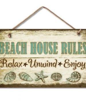 1 X Beach House Rules Relax Unwind Enjoy Tropical Weathered Coastal Sign 0 300x360