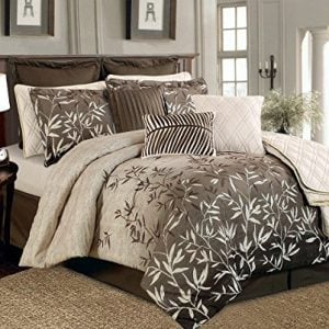 12 Piece Brown Beige Bamboo Leaves Tropical Oversize Comforter Set King Size Bedding Quilt Set 0 300x300