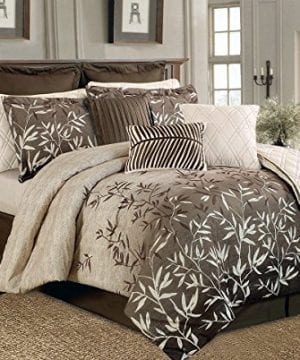12 Piece Brown Beige Bamboo Leaves Tropical Oversize Comforter Set King Size Bedding Quilt Set 0 300x360