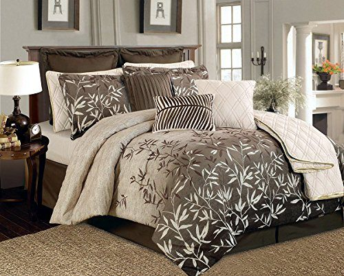 12 Piece Brown Beige Bamboo Leaves Tropical Oversize Comforter Set King Size Bedding Quilt Set 0