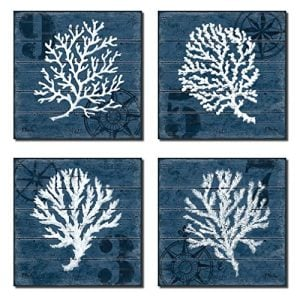 4 Indigo Blue Coral Nautical Signs On A Wood Print Background 0 300x300