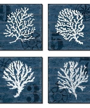 4 Indigo Blue Coral Nautical Signs On A Wood Print Background 0 300x360